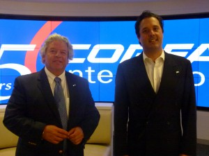 IVI Chairman Luis Correa (L) with President Eduardo Lara